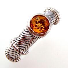Judith Ripka Citrine Ring Sterling Silver Size 7