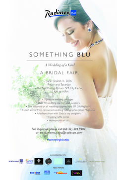 Special thanks to BG Bridal Gallery Philippines for featuring Something Blu, A Wedding of Kind Bridal Fair on June 10 and 11 at 10AM to 9PM only at the Northwing Atrium, SM City Cebu (Official).   Click this link: http://www.bgbridalgallery.com.ph/events/save-the-date-for-something-blu-a-wedding-of-a-kind-by-radisson-blu-cebu to read more!