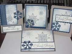 One sheet wonder by Freshn'Sassy - Cards and Paper Crafts at Splitcoaststampers Merry Christmas Card, Christmas Greeting Cards, Snowflake Cards, Snowflakes, One Sheet Wonder, Scrapbook Cards, Scrapbooking, Winter Cards, Stampin Up Cards