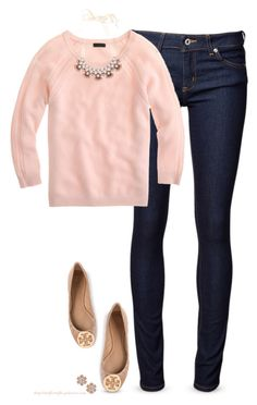 Beige & Pink by steffiestaffie on Polyvore featuring polyvore, fashion, style, J.Crew, Naked & Famous, Tory Burch and Wallis