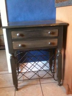project refinished distressed furniture piece black with stain glaze and new hardware aug 2013