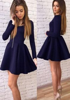 46393619b56 Cheap Navy Blue Long Sleeves Modest Mini Short Prom Dress