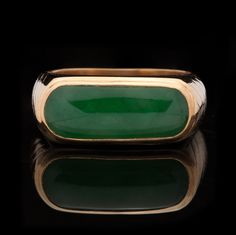 Gent's Mid Century Jade Cabochon 22Kt Gold Ring