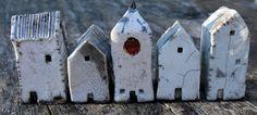Tiny Miniature Raku Houses by NorthStarPottery on Etsy, $60.00