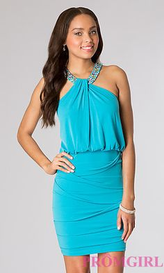 Short Sleeveless Ruched Dress at PromGirl.com