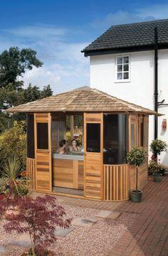installer un jacuzzi cabane de jardin recherche google jardin pinterest spa exterieur. Black Bedroom Furniture Sets. Home Design Ideas