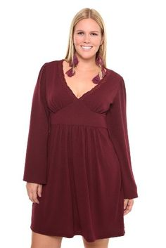 Plus size dress in red wine color