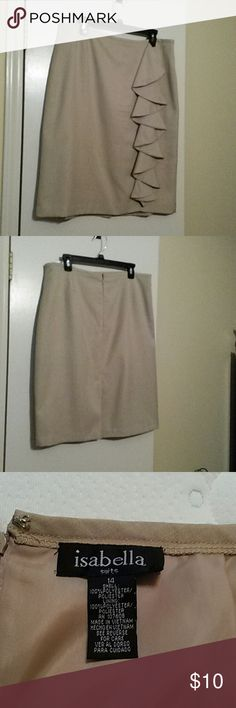 Skirt with ruffles down the front right side Fully lined tan skirt.  Waist 35.  Hips 44. Length 25 isabella Skirts