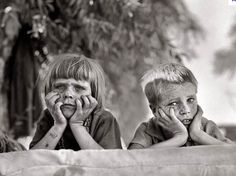 Sad looking Migrant Children during the Great Depression