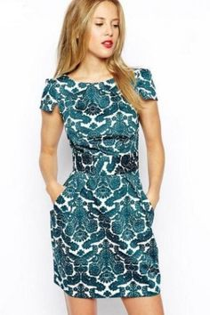 LUCLUC Royal Floral Printed Retro Scoop Dress