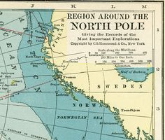Vintage North Pole Map  - 1926 Original Antique Map of the North Pole - BEAUTIFUL Colors - Aqua - Soft Yellow - White. $19.00, via Etsy.