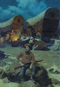 Night Watch Painting by Frank Tenney Johnson Reproduction Nocturne, Westerns, West Art, Cowboy Art, Le Far West, Country Art, Mountain Man, Native American Art, Illustrators