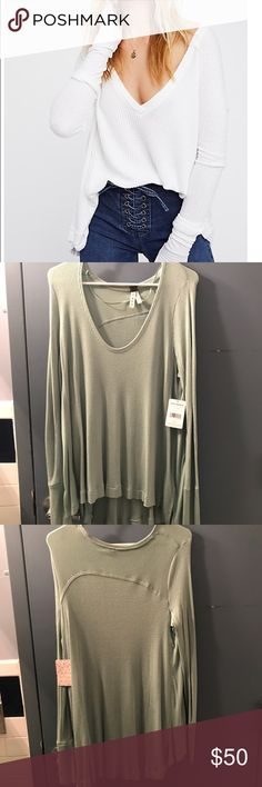 Free People Thermal Top Free People Thermal Long Sleeve: Sea Green Color. Size: SMALL. Fits oversized. Super cute and comfy. New with tags (as seen in photo). Open to offers ❤️ Free People Tops Tees - Long Sleeve