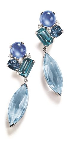 "HERZ- BELPERRON - ""MÉLANGE"" PENDANT EAR-CLIPS. In sapphire, zircon spinel, aquamarine, diamond and platinum."