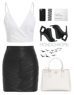 """""""Less is still more"""" by painterella ❤ liked on Polyvore featuring Balmain, Alepel, Prada, NARS Cosmetics and monochrome"""