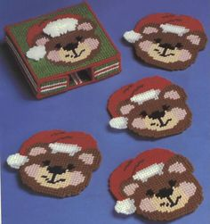 XMAS BEARS  1/6 Plastic Canvas Coasters, Plastic Canvas Crafts, Plastic Canvas Patterns, Tissue Box Covers, Tissue Boxes, Xmas Ornaments, Christmas Decorations, Christmas Coasters, Plastic Canvas Christmas