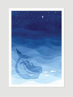 Mermaid blue print fish sea nautical wall decor painting