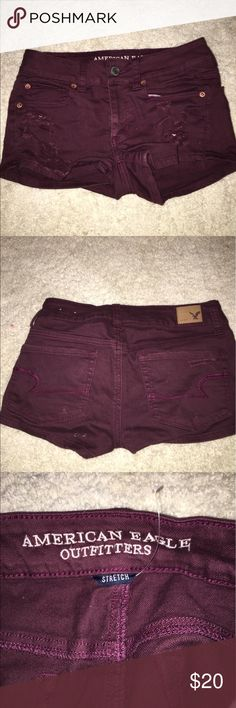 American Eagle shorts American eagle maroon shorts, never worn & in perfect condition, looks great with a plain shirt and sandals! American Eagle Outfitters Shorts Jean Shorts