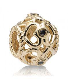 14ct Gold and Black Diamond Open Heart By Pandora Charm 750466DB