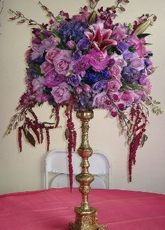 wedding centerpiece photos - tall purple and blue wedding centerpiece