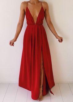 v cut red maxi dress