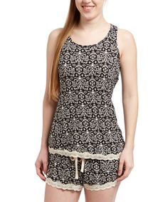 Look at this René Rofé Black Damask Electrifying Lace Tank & Boxers - Women & Plus on #zulily today!