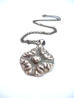 Victorian bronze flower pendant made from vintage by DreamofaDream, $35.00