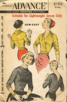 look what a lovely blog reader sent a link of--another two seam top! with longer sleeves too... the ideas are churning!!! | via Vintage Pattern Wiki.