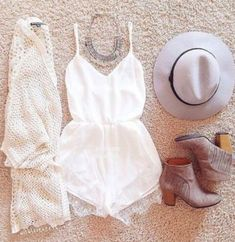 || off white cardigan, white romper, brown booties ||