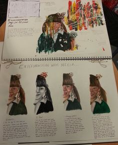 AS coursework experimentation. I like how this person has painted the same portrait in different lightings an colours. A Level Art Sketchbook, Sketchbook Layout, Arte Sketchbook, Sketchbook Pages, Sketchbook Inspiration, Sketchbook Ideas, Pop Art, Art Alevel, Art Diary
