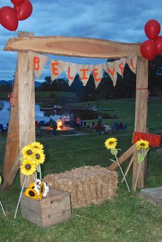 We made this outdoor photo booth for a benefit at our farm.  People sat on the hay and had their portraits taken with fun props.  We used the mountains of western North Carolina as a backdrop.
