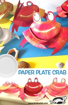children activities, more than 2000 coloring pages Paper Plate Crab, Paper Plate Animals, Paper Plates, Crafts For Kids To Make, Art For Kids, Crab Crafts, Summer Crafts, Art Plastique, Children Activities