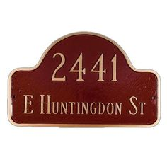 Montague Metal Products Lexington Small Arch Address Plaque Finish: Brick Red / Gold, Mounting: Lawn