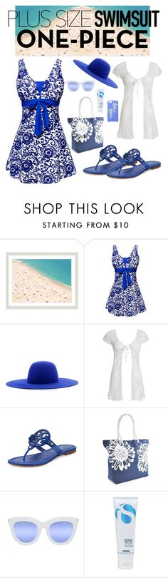"""""""Untitled #109"""" by whatisshewearing ❤ liked on Polyvore featuring Vintage Print Gallery, Études, Beauty & The Beach, Tory Burch, Quay, La Roche-Posay, Kate Spade, stylishcurves and plussizeswimsuit"""