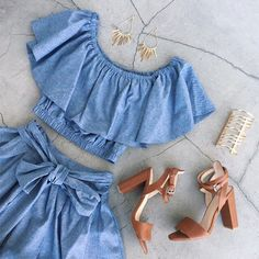 Top: denim, chambray, denim top, skirt, jeans, crop tops, off the shoulder, gojane, off the shoulder top, blue top - Wheretoget