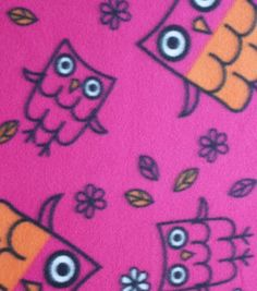 Blizzard Fleece Fabric Tossed Owls On Magenta