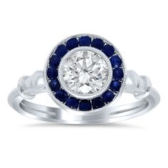 Halo Engagement Ring with Sapphires - click to enlarge