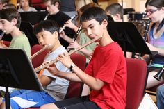 The SummerDayMusic youth orchestra in action during their rehearsal.