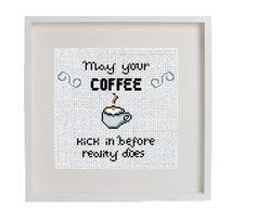 Modern Subversive Coffee Cup Cross Stitch Pattern Instant PDF Download, Fun Small Beginner Pattern, Coffee kitchen decor