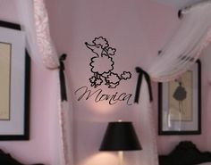 Personalized Name Paris Poodle GIrls Room Vinyl Wall Lettering Decal Nursery. $26.99, via Etsy.