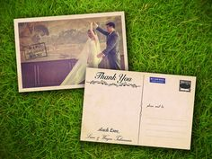 """Wedding Photo Thank You PostCard - Vintage Rustic French Alsace Customizable 4"""" x 6"""" - 50 Pieces PRINTED Double Sided Premium Postcard. $60.00, via Etsy."""