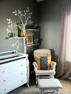 For Rome's nursery I wanted a modern and clean look. I chose a neutral grey for the base colors, white for all the furniture, and then added color with fabrics and wall decor. I still need to figure out the shelf arrangement, but I think it's coming along nicely!