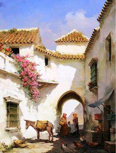 The Way It Was~Cadiz, Andalucia (Manuel Fernandez). City Landscape, Landscape Paintings, Spanish Artists, Andalusia, Painting & Drawing, Watercolor Art, Folk Art, Sketches, Sculpture