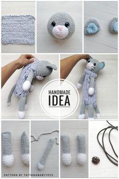 # how to magic circle crochet Crochet Cat Pattern - Pajamas Holder - Big Plush Toy - Amigurumi Kitten Crochet Cat Pattern, Crochet Toys Patterns, Amigurumi Patterns, Stuffed Toys Patterns, Crochet Dolls, Crochet Baby, Knitting Patterns, Cat Crochet, Crochet Rabbit