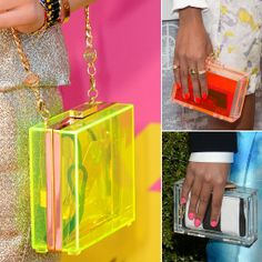 Neon transluscent Clutches - Lucite clutches are (clearly) having a major moment in the spotlight — all you have to do is zoom in on the red carpet for further proof. First spotted on the Spring '13 runways at Gucci and Chanel, these Lucite handhelds have made their way to the Hollywood circuit, and with that comes even more inspired ways to wear them.
