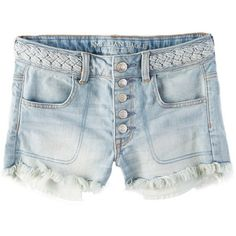AEO Hi-Rise Shortie ($30) ❤ liked on Polyvore featuring shorts, bottoms, blue, short, distressed shorts, ripped short shorts, blue short shorts, ripped shorts and torn shorts