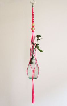 Small macrame plant hanger - neon pink.
