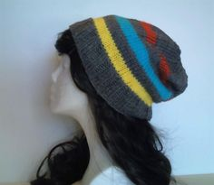 Stripe Slouchy Beanie by QuiltsbySami on Etsy