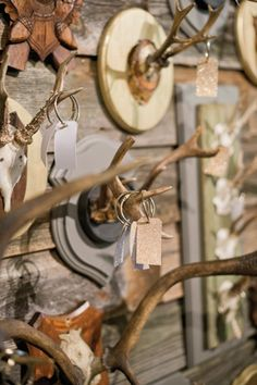 wall of gilded antlers to hold guest book notes by @Calder Clark | Harwell Photography #wedding