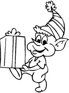 christmas elves got gifts coloring page